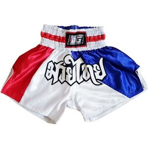 STRIPES' RED WHITE BLUE MUAY THAI BOXING TRAINING SHORTS (Kids XS - XL Adults)