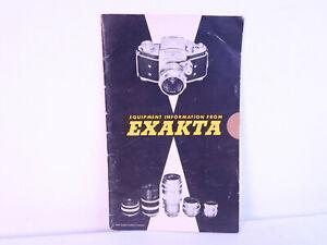 Exakta leaflet: Equipment information from Exakta. anno 1954. pp.27