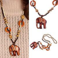 Necklace Boho Jewelry Wood Elephant Pendant Ethnic Style Hand Made Bead Long