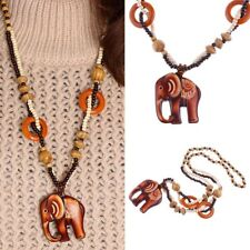 Necklace Boho Jewelry Wood Elephant Pendant Ethnic Style Hand Made Bead Long
