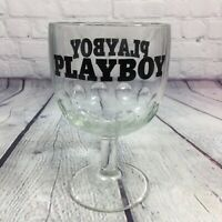 """Vintage PLAYBOY Goblet Footed Clear Glass 6"""" Tall / Barware Drinking"""