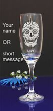 Personalised SUGAR SKULL engraved champagne glass for Birthday,Christmas gift138