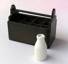 MINIATURE WOOD TOTE CADDY Milk Bottles Garden Tool 1:12 Model Horse Doll House