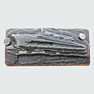 Vintage Ocean Liner Ship Image Letterpress Printing Block Small 1 15/16 by 7/16