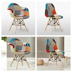 Patchwork Modern Armchair TUB & Tulip Dining Chair Retro Vintage Scandinavian
