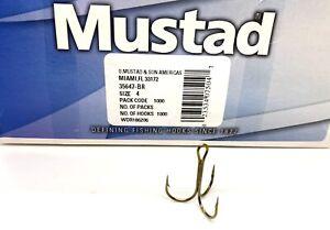 MUSTAD ROUND BEND-RINGED-TREBLE HOOKS-BRONZE-(25 PACK)-SIZE 4