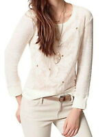 Anthropologie Lacepetal Top XSmall 0 2 Ivory Top Floral Lace Overlay Pullover