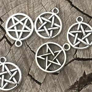 Pack of 10 Tibetan Silver Alloy Charm - Pentagram 16.5x1.8mm TS013