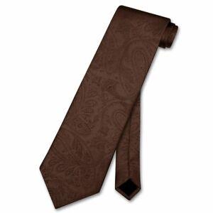 Vesuvio Napoli NeckTie CHOCOLATE BROWN Color Paisley Design Mens Neck Tie