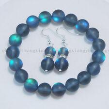"10mm Gray Gleamy Rainbow Moonstone Round Beads Bracelet Earrings Set 7.5"" AAA"