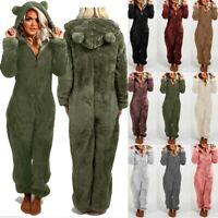 Womens Fleece Fur Jumpsuit Ladies Winter Warm Furry Hooded Playsuit Lounge Wear