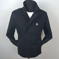 AllSaints Men Black Toulouse Pea Coat Double Breasted Jacket Size 38