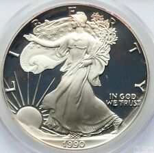 1990-S $1 Silver Eagle, Moy Signature PR70 Deep Cameo FROSTY DEVICES & MIRRORS