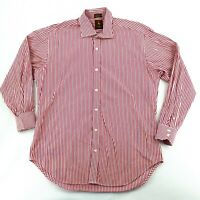 Tailorbyrd Men's Large Button Down Casual Dress Shirt Red White Stripe Cotton
