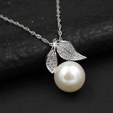 12 mm White Freshwater Pearl CZ 925 Sterling Silver Pendant Chain Necklace 00346