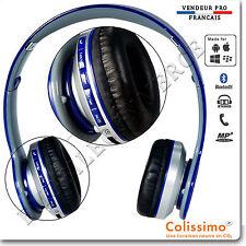 Casque Bluetooth Stéréo Sport Pliable Ecouteurs MP3 avec un micro intégré bleu