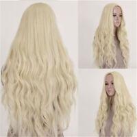 Women's Light Blonde Hair Full Wig Wigs Long Curly Heat Resistant Wavy Cosplay