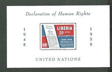 Liberia bloque 12 ** Air Mail Declaration of Human Rights 1958 post frescos