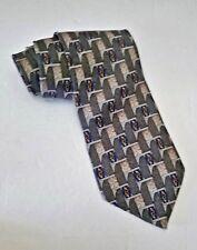 Pierre Cardin Necktie 100% Silk Olive Blue Gold Grey Mens L 57 W 4 Classic