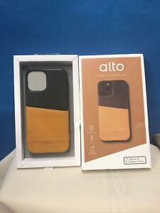 Alto Metro Italian Leather Wallet iPhone 12 12Pro Case Carmel Brown Raven Black