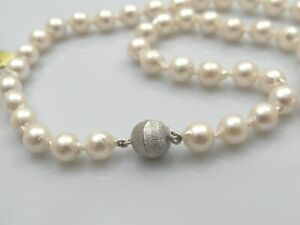 Kette Perlen Collier Akoya Zuchtperlen 925 Silber Wert: 600,- EUR neu