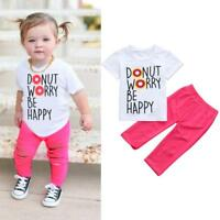 2PCS Toddler Kids Baby Girls Clothes Outfits T-shirt Tops +Denim Jeans Pants Set