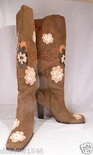 NINE WEST Women's Kallan Foral Overlay Olive Suede Knee-Hi Boots US 7M