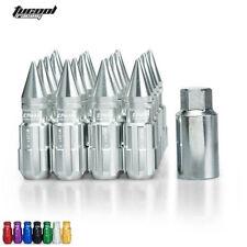 20pcs 12x1.25 W/Key For Nissan Subaru Suzuki Lock Lug Nuts With Spikes Silver