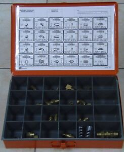 AIR BRAKE FITTING ASSORTMENT, BRASS. 55 PCS with Storage Case