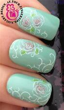 NAIL ART WATER TRANSFERS DECALS STICKERS DECORATION SET PINK WHITE FLOWERS #281