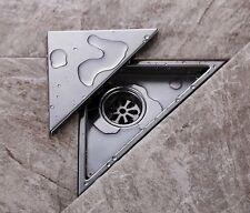 Stainless Steel Bathroom Triangle Tile Insert Square Shower Floor Drain