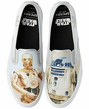 NIB Star Wars Sperry  C3PO R2D2 White Slip-On Shoes Size 6.5 Women's