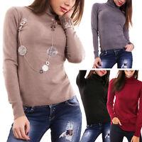 Maglione donna lupetto dolcevita maniche lunghe aderente pullover basic R8906