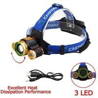 60000 LM T6 3X LED USB Headlight Zoom 18650 Flashlight Rechargeable Lamp GA