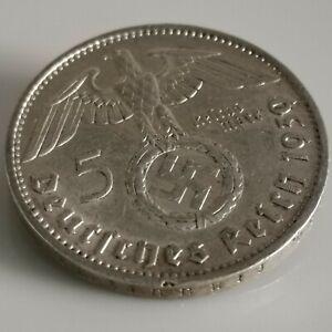 German 5 Reichsmark (1939 J) 0.900 silver coin Third Reich WW2