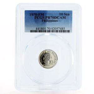 Philippines 10 sentimos Poet Francisco Balagtas PR70 PCGS nickel coin 1978