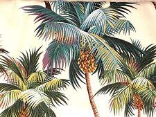 "PAIR 48""x 26"" Cotton Hawaiian Tropical Barkcloth Fabric Curtains ~Palm Trees~"