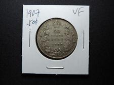 1907 50 Cent Coin Canada King Edward VII .925 Silver VF Condition