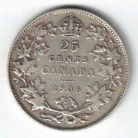 CANADA 1936 TWENTY FIVE CENTS QUARTER KING GEORGE V .800 SILVER COIN