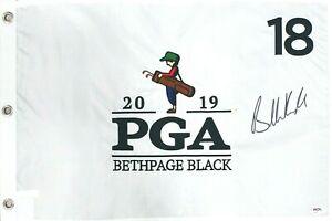 Brooks Koepka Signed Autograph Wht 2019 Bethpage Black PGA Championship Flag PSA