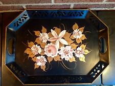 """Nashco Toleware Metal Tray Black Pink Flowers & Golden Leaves 18"""" X 12"""" X 2"""""""