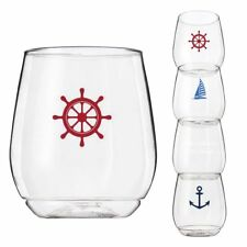 4-pack Wine-Oh! Designer BPA Free Plastic Shatterproof Wine Glass NAUTICAL