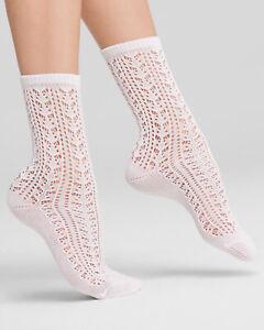 1 pair of HUE U15905 Open Crochet White Socks - MSRP $8.50