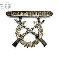 Model 1903 U.S. Marine Corps Expert Rifleman Badge Riveted Krag Rifles 2-Peice