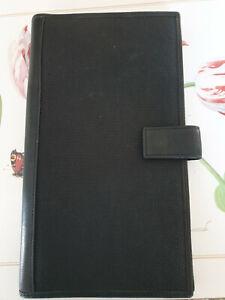 Reisebrieftasche mit vielen Fächern, schwarz mit Leder