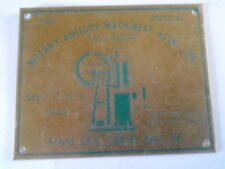 Nittany Antique Machinery Assn. Fall Show 1990 Dash Plaque Center Hall Pa.
