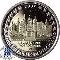 Deutschland Schweriner Schloss 2 Euro Spiegelglanz-Gedenkmünze 2007 PP Mzz. A