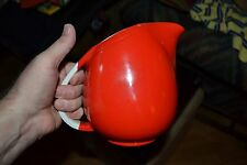 HALLS SUPERIOR QUALITY RARE POTTERY KITCHENWARE BRIGHT RED PITCHER W/WHITEHANDLE