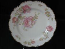 Vintage Limoges Pink Roses Plate, Haviland France, Gold Scalloped Rim, Antique