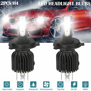2x H4 9003 HB2 6000K White LED Headlight Kit High Low Beam Fog Driving DRL Bulbs